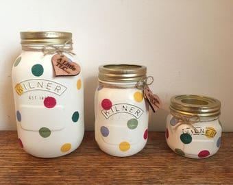 Spotty dotty Kilner jars