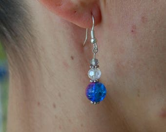 Blue and purple crackled glass earrings and bohemian crystal
