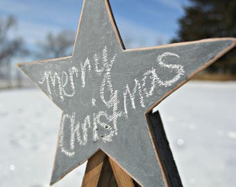Barn Wood Ornament Tree with Chalkboard Star