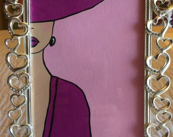 Acrylic Painting, Lady in Purple