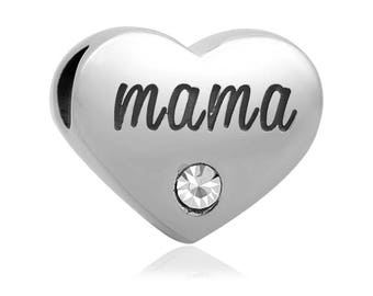 heart MAMA Stainless steel beads - large hole beads - european bead - High quality polished - spacer beads - AA269