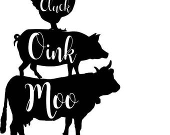 Cluck Oink Moo Vector