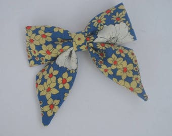 Floral bow - blue bow - clip-in bow - flower bow - toddler bow
