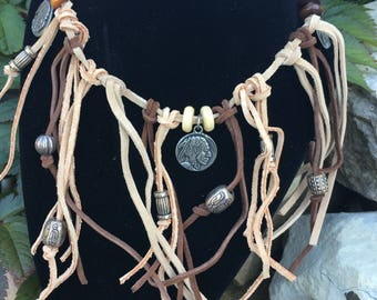 Native American inspired fringe leather necklace, handmade