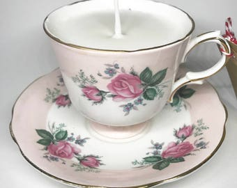 Handmade, Sweet Pea Scented, Soy Wax Candle in a Vintage Rose Tea Cup