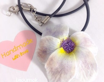 Flower Necklace ~ Purple and Yellow ~ Floral polymer Clay Necklace ~ Perfect birthday gift ~ wedding party Accessory ~ Gift Idea