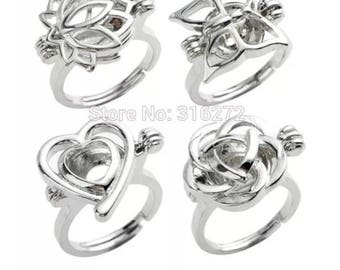 CDWG41  Jewelry 8 pcs /LOT Rings Wish Love Pearl Cage Ring Lotus Butterfly Heart Rose Cages Mixed Designs, jewelry supplies