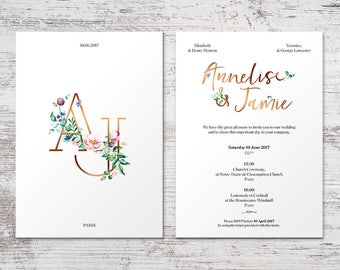 Annelise Invitation, The Luxe Floral Wedding style with Monogram and triple-layered paper
