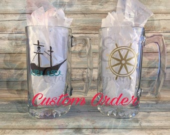 Custom Beer Mugs (2 pack) // Custom Designed For Any Occasion -- Father's Day, Groomsmen Gifts, Bachelor Party