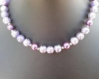 "Mauve Czech glass bead necklace 19"""