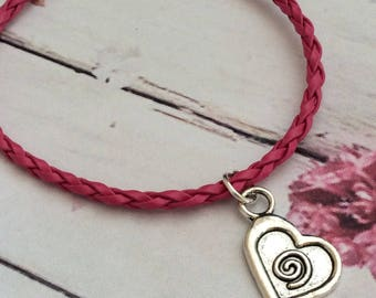 Pink cord/rope tibetan silver heart charm bracelet, faux leather heart charm bracelet, charm bracelet, ladies gift, heart bracelet, heart,