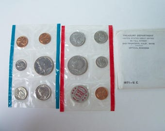 1971 US mint set of 11 coins , plus token  (#EV181)