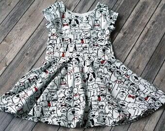 READY TO SHIP. Dog Dress. Puppy Dress. Short Sleeve Dress. Size 3T Dress. Toddler Dress. Twirl Dress. Twirly Dress. Summer Dress.