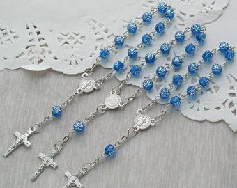 24 Pcs Rosebud Mini Rosary Favor for Baptism Boy / Christening / First Communion / Sweet 15 / Wedding / Recuerdos de Bautizo JA164-Blu