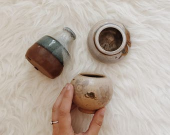 Set of three vintage ceramic vessels | boho ceramic vases | ceramic vases | ceramic vases | 70s ceramics | boho ceramics | studio pottery