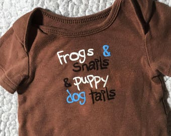 "Brown ""Frogs & Snails and Puppy Dog Tails"" Puppy Shirt"