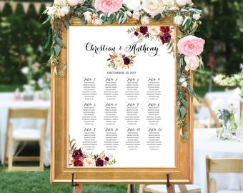 Wedding Seating Chart, Wedding seating template, Navy seating chart, Seating chart, seating chart poster, seating chart alphabet, #123