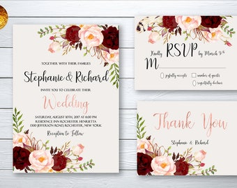 Wedding Invitation Suite Printable Floral Digital Wedding Marsala Burgundy Rose Gold letters Invitation Bohemian Wedding Invite WS-023