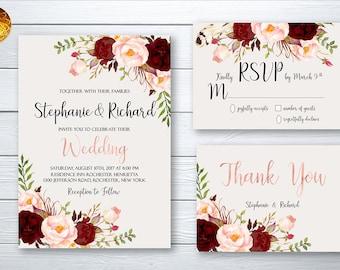 Wedding Invitation Suite Printable Floral Digital Wedding Marsala Burgundy Rose Gold letters Invitation Bohemian Wedding Invite WS-023