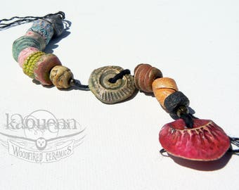 14 porcelain nuggets artisan beads Yaudetcollection by KaouennCeramics