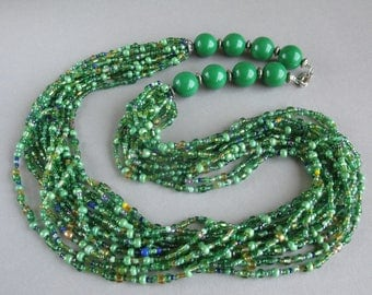 Green beaded necklace, Seed beads jewelry, Green necklace, Multistrand necklace, Handmade necklace