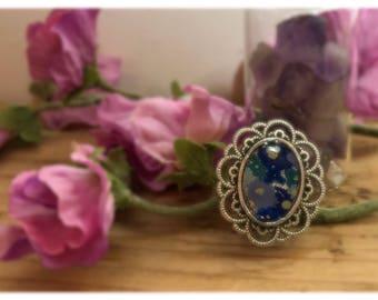 Statementring Fresh-blue-flower