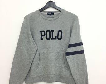 Vintage POLO By Ralph Lauren Spellout Sweatshirt Jumper Size 150