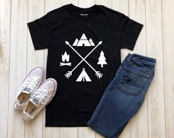 Mountains, Tent, Tree, Campfire shirt, Camping shirt, outdoors shirt, hiking