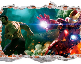 The Avengers, Hulk And Ironman, Smashed Wall Sticker, Wall Decals