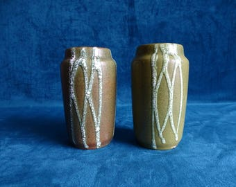 Two vintage pottery green/brown vases, West-Germany
