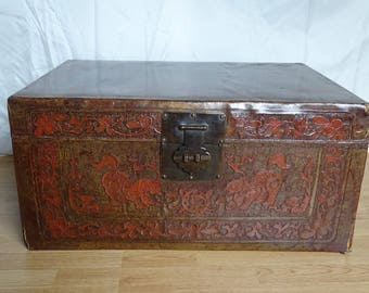 Large Chinese leather case with foo dogs-1930/1950