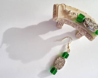 Green and silver swirl design earrings, green and silver earrings