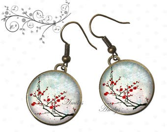 Japanese garden earrings under resin cabochons
