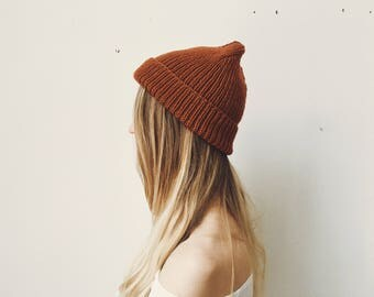 Rust Orange Hand Knit Ribbed Beanie