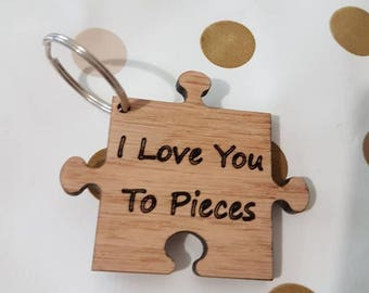 Puzzle Piece Keyring Valentines day Gift idea Wood Gift Gift for Daddy Fathers Day Gift Daddy Keychain gift Woodcraft Wife Gift Anniversary