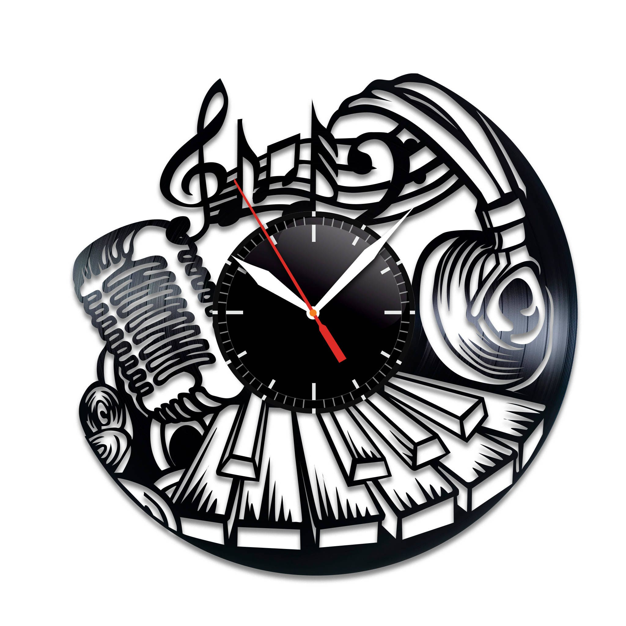 Music vinyl wall clock music home decor music wall poster zoom amipublicfo Images