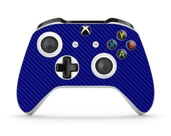 Xbox One S Controller Skin - Carbon Fiber - Blue
