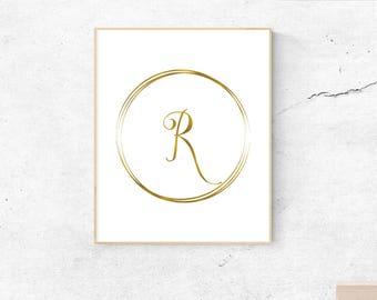 Letter R, gold, monogram, letter, initial, instant download, gold poster, printable art, wall art, gold monogram