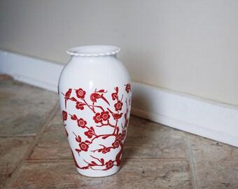 Vintage Fireking Vitrock Vase Red Floral Scroll