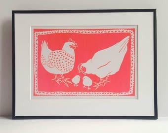 Hen print - Chicken poster - Hen poster - Chicken print- Prints of hens - Prints of chickens - Decorative Hen poster - Handmade screenprint.