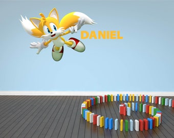 3D Tails Sonic The Hedgehog Wall Sticker Decal Custom Personalised  Childrenu0027s Kids Bedroom