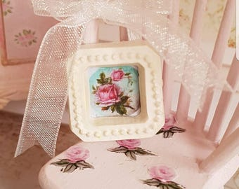 Dollhouse Miniature,Doll house Furniture,Shabby Chic Miniatures,Framed Rose Picture,Miniature Frames,doll house frame,12th scale