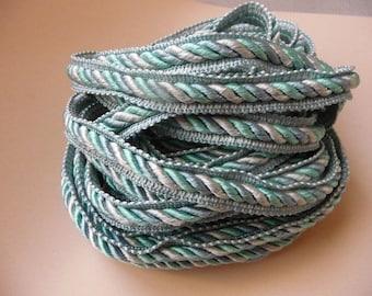 2.5 m satin twisted braid trim, 3 pastel colors