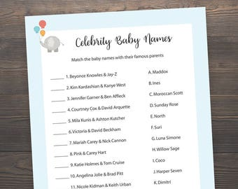 Baby Shower Games, Celebrity Baby Name Game, Printable Baby Shower, Baby Boy Shower Games, Celebrity Baby Name Match, Elephant Shower, ES3