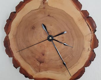 Wood wall clock tree poplar solid wood handcrafted unique beautiful grain rustic