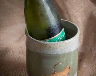 Green and White Wine Cooler / Ginkgo Pottery Wine Cooler / Handmade Ceramic Wine Chiller / Nature Wine Chiller/ Utensil Holder /IN STOCK