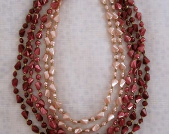 Vintage Necklace 6-Tier pink and red beads 1950s BEAUTIFUL