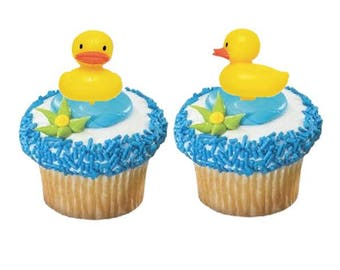 Yellow Duck Cupcake Picks - Set of 12