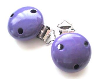 Pacifier clip in wood - purple