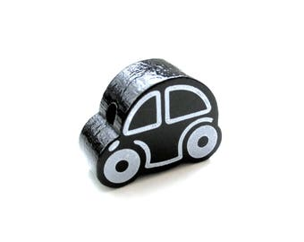 Small car - black wooden bead